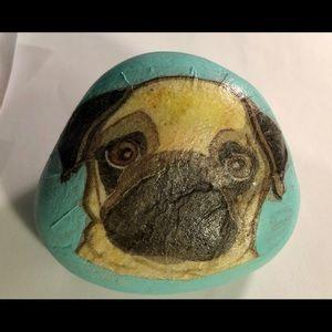 Hand painted and decoupage rock Pug Dog